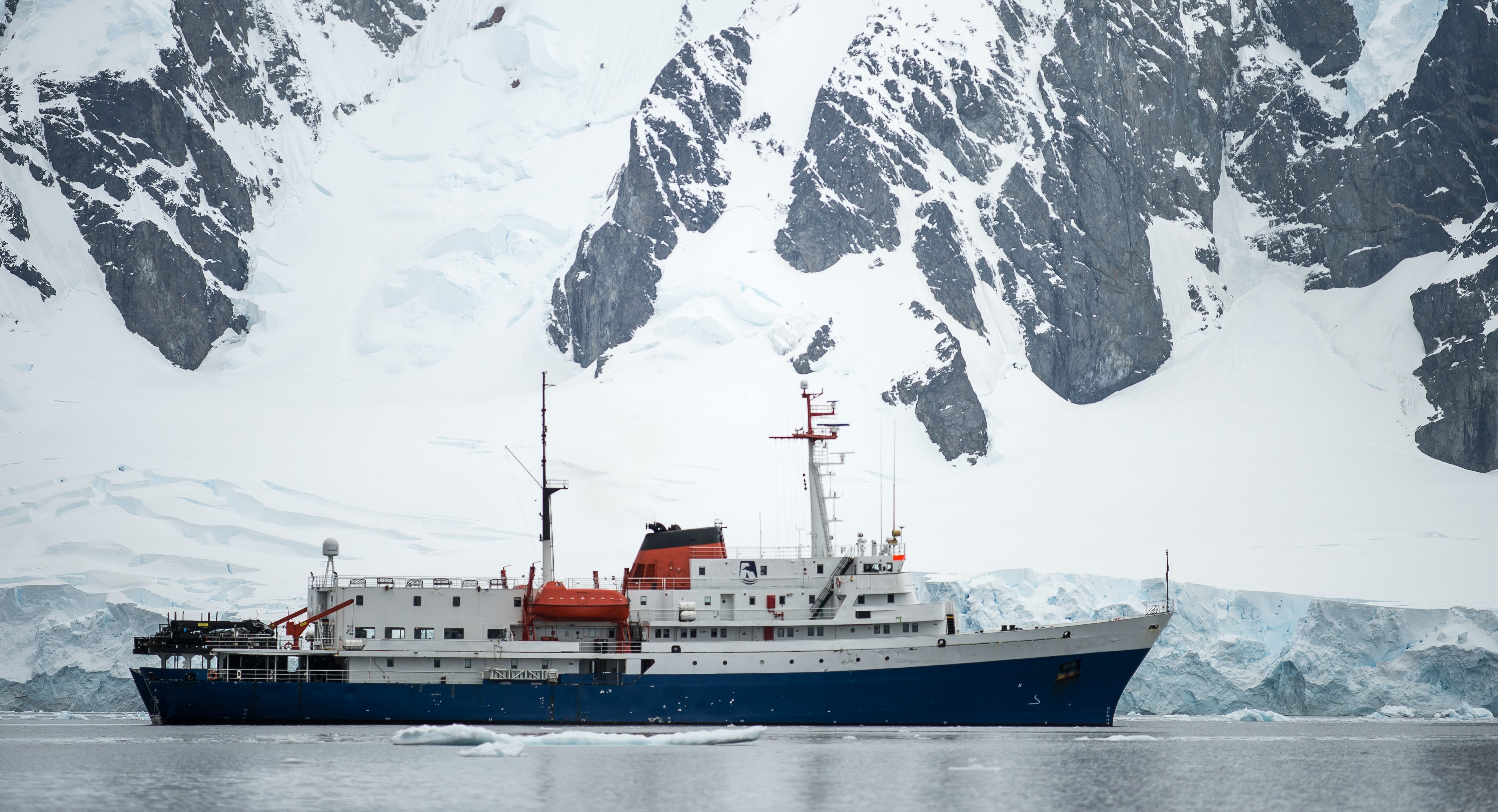 Ship sailing in Arctic