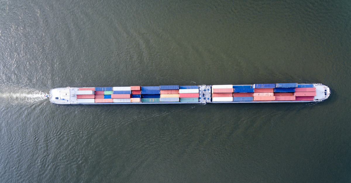 Top down image of a container ship