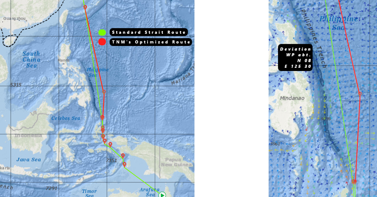 (Left) Route comparison between standard strait line route and TNM's optimized route. (Right) Detailed view of deviation point including coordinates.