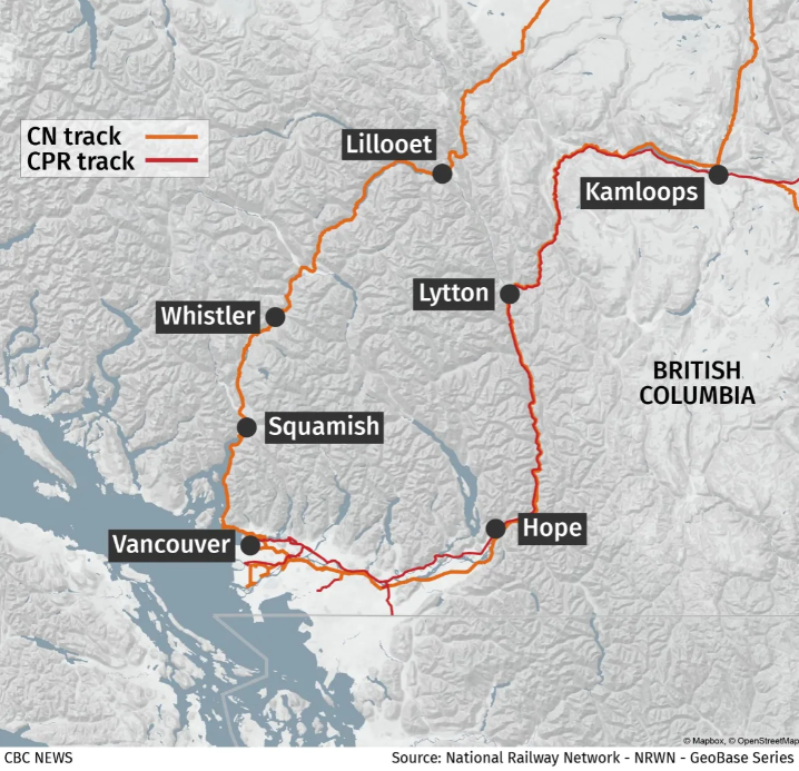 Map of Rail lines in Lower Mainland BC